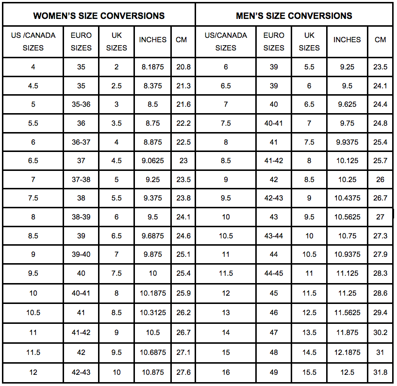 Adult Men and Women Shoe Size Conversion Chart