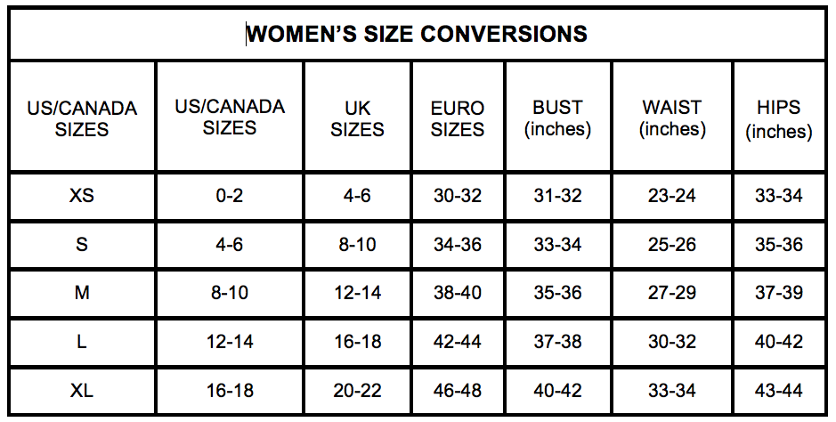 Women's Clothing Sizes Conversion Chart